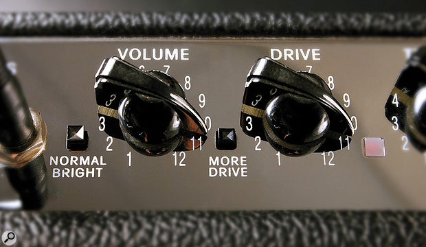 You might think more drive would result in a bigger, dirtier guitar tone, but when double-tracking you probably want to back off the gain a bit.