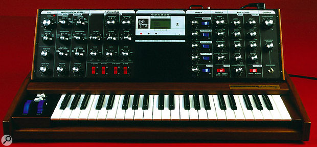 If you have to have a true analogue synth, the Voyager by Bob Moog (above) might be expensive, but you won't find a MIDI-equipped original Minimoog (top) in pristine condition and perfect working order for less money, if at all.
