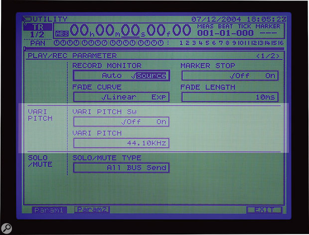 Check that the Roland VS2480's Vari Pitch function is turned off in the Utility menu, as shown here.