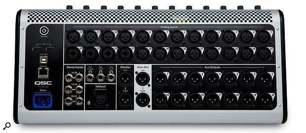 The TouchMix-30 Pro has a generous I/O count, including 24 mic inputs, six line inputs (in three stereo pairs), a talkback input, 14 auxes, plus main stereo out and monitor out, a stereo cue headphone out, and two further headphone outputs mirroring aux pairs 11-12 and 13-14, suitable for running in-ear monitors.