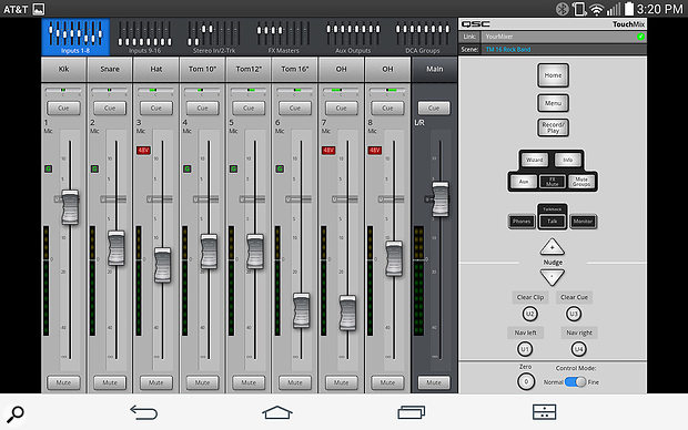 The main mixing window of the app shows eight faders at a time.