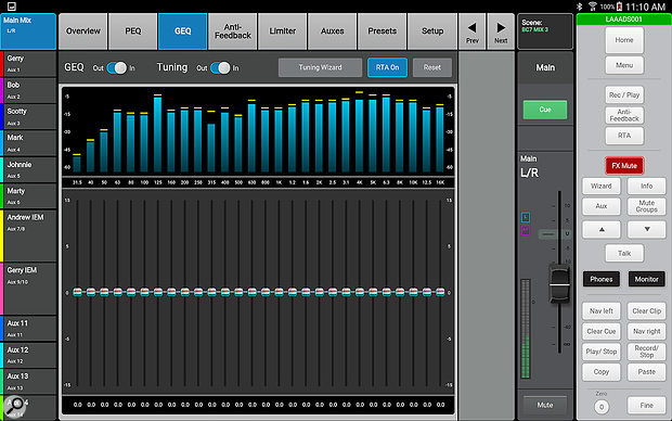 Each output has its own graphic EQ, while an RTA and room-tuning wizard help you tailor your system to the venue.