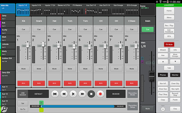 The TouchMix-30 Pro is capable of recording, and playing back, up to 32 channels to/from an attached USB disk.