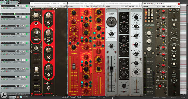 Some of the Modula plug-ins as they appear in your DAW, with all three panels visible simultaneously. The two on the left, Magenta 5 and Diamond Color EQ, are included with Modula. The others, Water and Taupe, are prototypes supplied for evaluation — they'll be paid plug-ins, but won't be publicly available until after Modula is released.