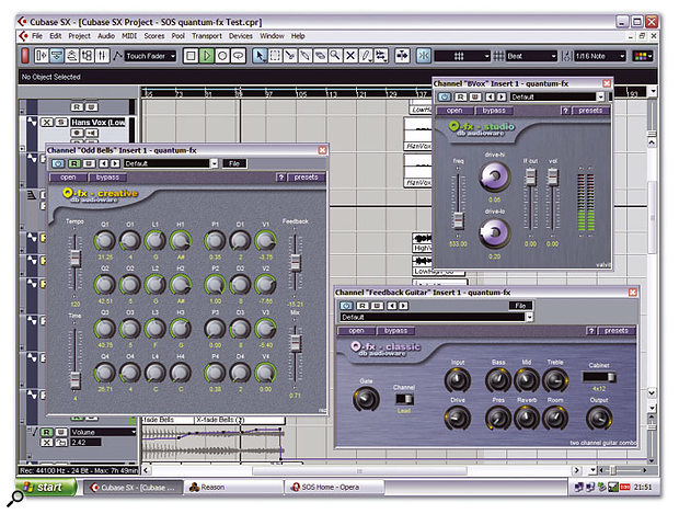 A selection of Quantum FX's bundled effects running in Cubase SX.