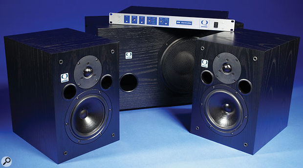 The S7 active monitors and SB10 subwoofer, with the subwoofer's rackmount controller and amplifier.