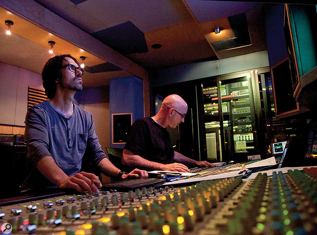 Ryan McCambridge (left) and David Bottrill at work in the LiveWire Recorders mobile studio.