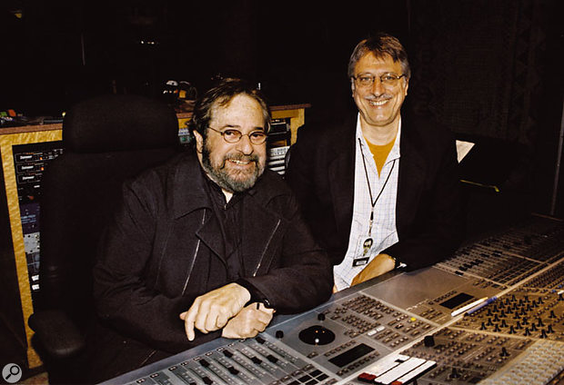 Phil Ramone with engineer Frank Filipetti.