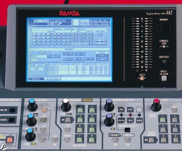 Use of the DA7's many multi-function controls is aided by the large LCD. Below this, from left to right, are the EQ controls, multi- function buttons for controlling Pan, Assign and Surround mixing, another set of multi-function controls for dynamics and delay, and controls for the six aux sends.