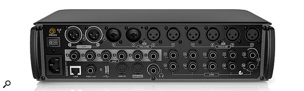 The M18 features eight mic preamps, which can accommodate mic or line-level signals and have remote-controllable preamps. The remaining inputs comprise eight further line-level jack sockets (including two with high-impedance instrument switching), and a  stereo USB playback input.