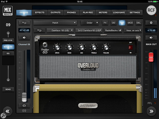The on-board Overloud amp modelling offers extensive amp, cabinet and mic-positioning options.