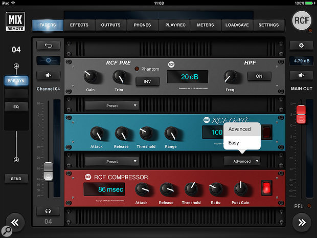 The per-channel gain control and dynamic-processing options are presented as a  virtual rack.
