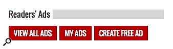 SOS Readers' Ads red sidebar buttons.