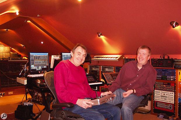 Philip Taysom (right) and studio technician Roy Harrison in Philip's converted loft studio.