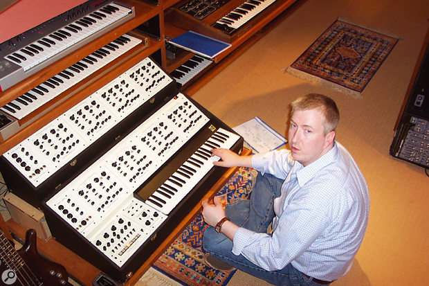 Even heavy keyboards such as the Oberheim 8-voice slide out from their bays easily on heavy-duty shelf runners.