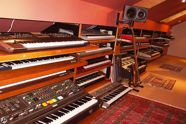 Just some of the racked-up keyboards the studio is crammed with. The keyboard bays are set up so that all the gear is readily movable and will function when plugged elsewhere.