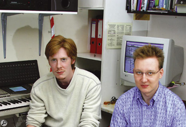 Andy Wood (left) and John Hackett in their compact but very functional workspace.