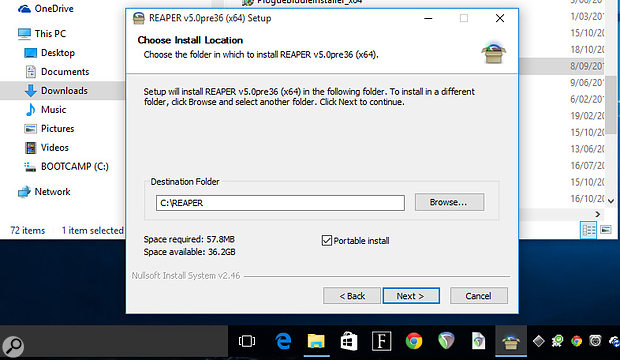 Windows users have it easy when it comes to portable installs. Just check the 'Portable install' box and it's all taken care of. The default path is C:\Reaper, as you can see in this screenshot, but you can choose to install it anywhere you like.