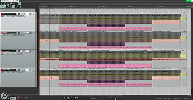 A  multitrack drum session with multiple takes across multiple channels.