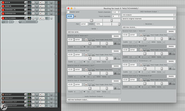 Here you can see the full 'Multichannel' track–routing setup for the inputs and outputs.