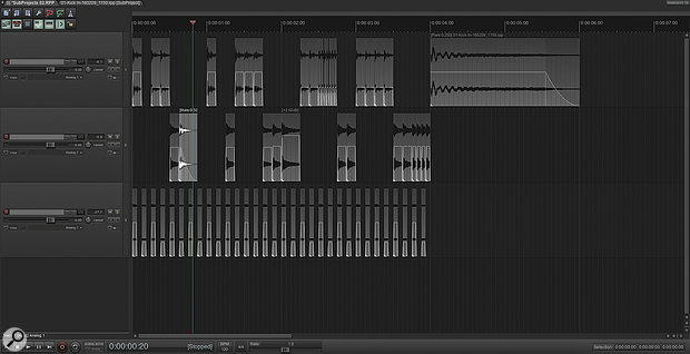 A drastically re-edited drum recording, with its Subproject source open in a secondary tab. Subprojects allow you to perform as much editing to a multitrack recording as you like, while retaining easy access to the underlying session.