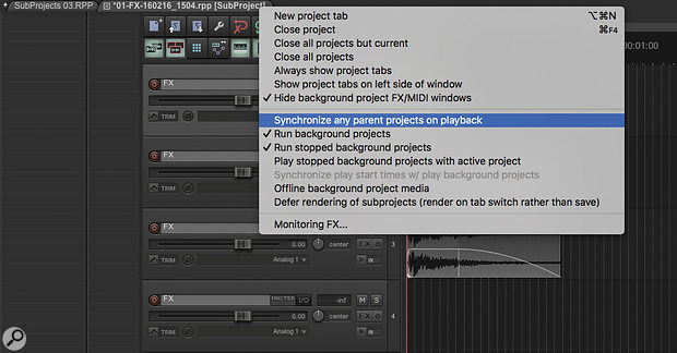 Right-clicking on a project tab will open up this menu, which allows you to control how the parent project behaves during Subproject playback.