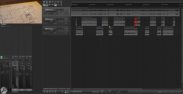 This is a scoring session for a 12-minute TV episode. Each media item represents an entire multitrack MIDI project, each with several dozen tracks of virtual instruments inside.