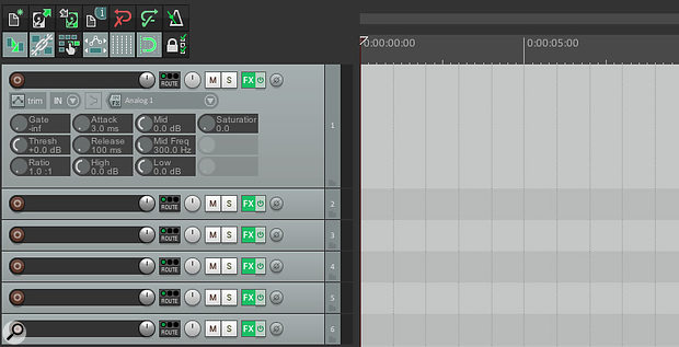 Your mixer effects controls also appear in the track control panel.