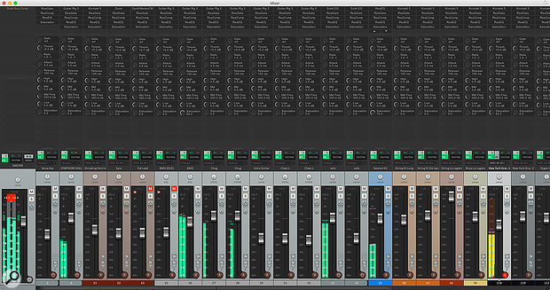 Effects controls duplicated across every channel to provide a mixing console-style view of a project.