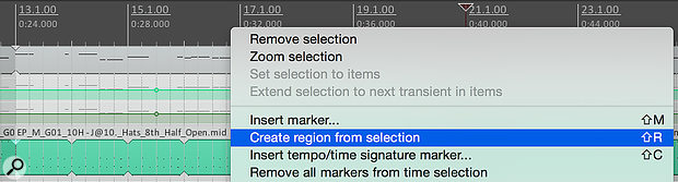 You can create regions in Reaper based either on the current timeline selection or, via some Actions, on the currently selected clips.