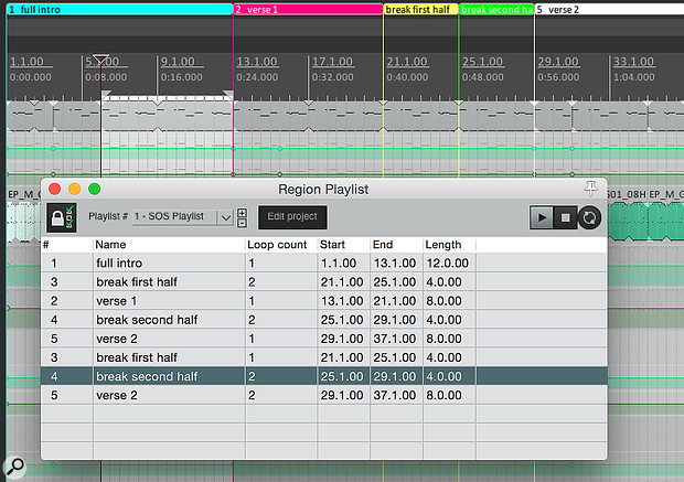 The Region Playlist window allows you to sequence and repeat your Regions as you wish, to sketch out a new arrangement.