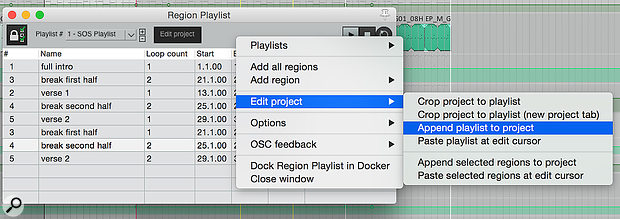 You're given a  few different options for 'rendering' your Playlists to a normal linear project.