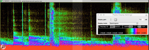 Screen 2. The same part, but with adjustments to the Spectrogram made via the Peaks Display Settings window, to emphasise the problem area.