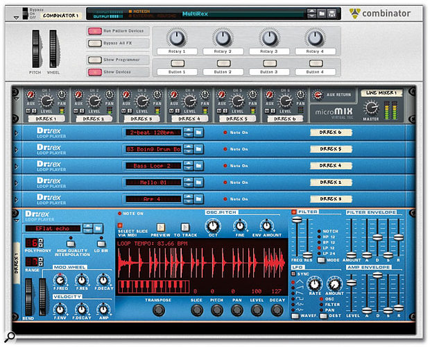 Six Dr:Rex devices in one Combinator — all loops and settings saved in a single patch.