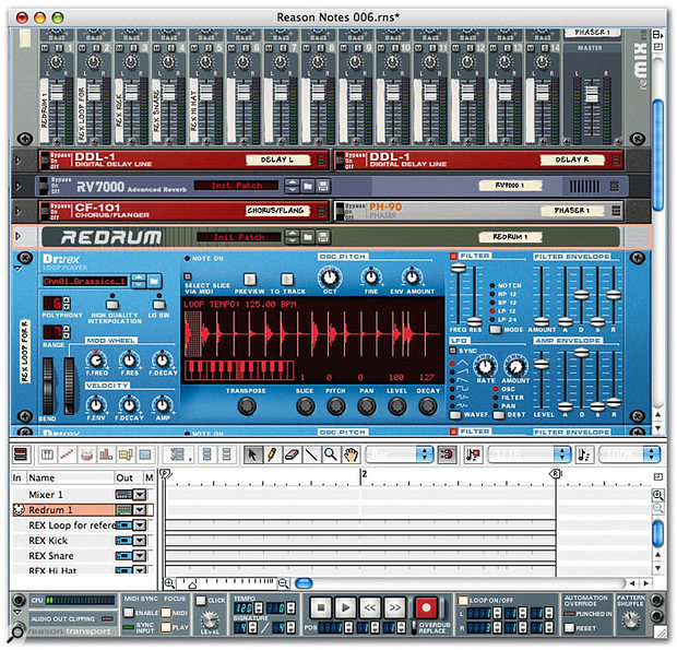 The initial rack, with Redrum and three instances of Dr:Rex, plus the 'To Track' events that trigger the loops' slices visible in the sequencer window.
