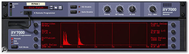 Here, the Arena algorithm — which would ordinarily produce a very long reverb decay — is providing a rhythmic delay pattern. Increasing the Decay (top panel) and Diffusion parameter values blurs the distinct delays but the rhythmic feel remains.
