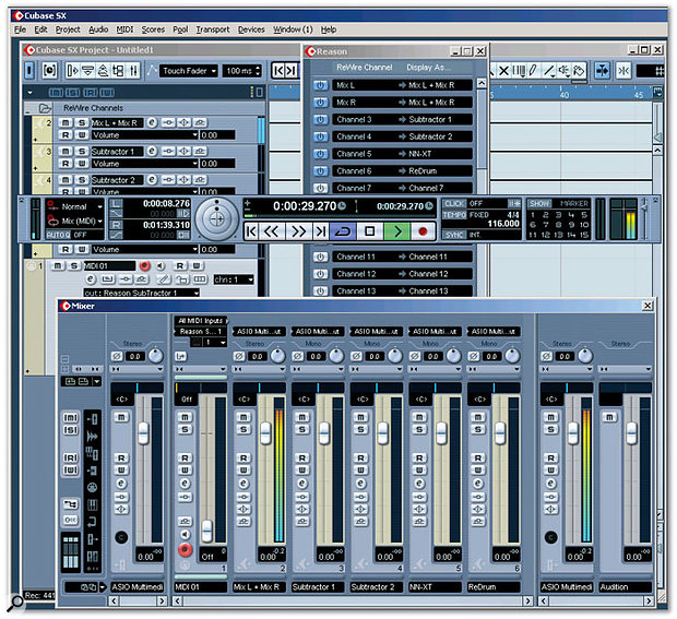 Cubase SX's Reason device panel is toward the upper centre; the mixed output and four other channels are active. Reason's selected instrument outs show up in the Arrangement window as part of a Reason folder track, as well as in the mixer. The SX MIDI track drives whichever instrument is selected as its output.