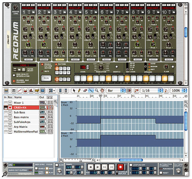 Tuning drums can make a big difference to the sound of a mix, and can be automated throughout a song. In this example, you can see two Redrum samples having their pitch changed automatically; pitch stays at one value until bar 32, changes, then moves back to the original value after a further 16 bars. The changes have been exaggerated for illustration: most alterations wouldn't be this drastic. Note the green highlight around pitch parameters that have been automated.