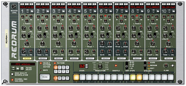 Reason's Redrum drum machine can be triggered via MIDI or from its built-in step sequencer.