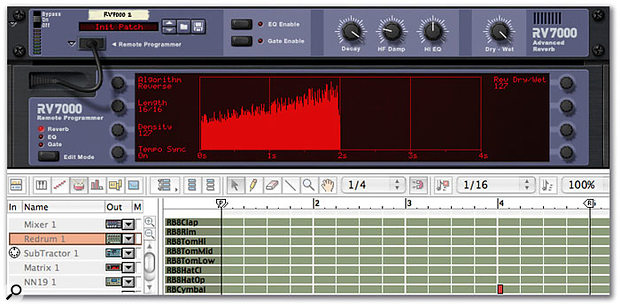 In this simple example, a cymbal hit appears on beat one of bar four in the sequencer edit window. The note that it triggers is processed by a long reverse reverb. Tempo Sync is on, with a length value of 16/16, or one full 4/4 bar. As a result, the dramatic reverse effect starts on beat one of bar four and gradually builds, with the cymbal crash finally appearing on bar one, beat one of this four-bar loop. Note that because this is a reverse reverb algorithm, the 'decay' parameter controls the length of the perceived fade-in of the effect.