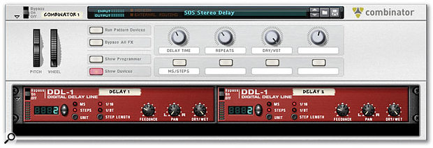 Figure 4: Front view of a delay unit created in the Combinator to produce true stereo delay processing.