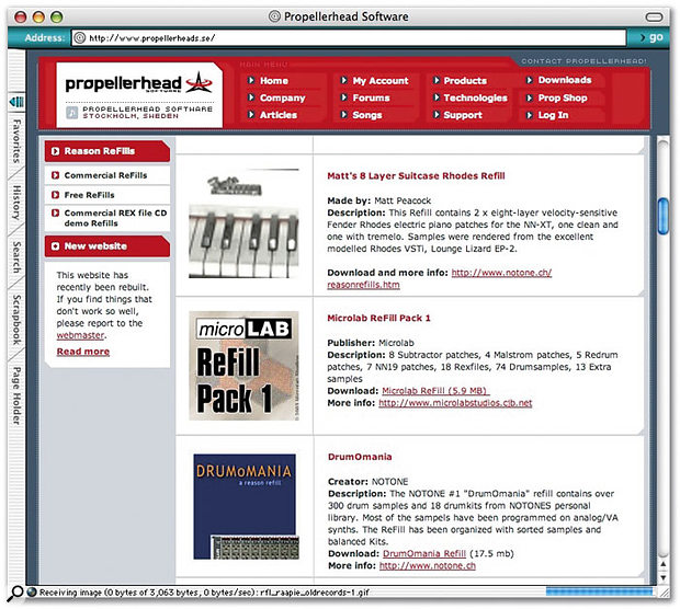 Just a peek at the portion of Propellerhead's web site that's dedicated to Refills.