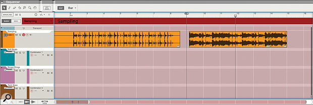Screen 1. Two sections of sampled audio: one clean drum loop, and part of a full mix.