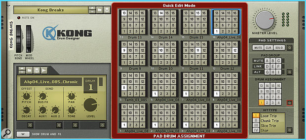 2. Quick Edit mode reveals several pads assigned to the loop on pad 1.