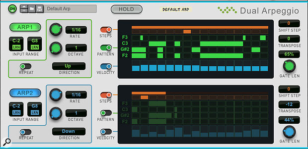Screen 3: Varying the speeds, lengths, and offsets of the two arps results in syncopated polyrhythms.