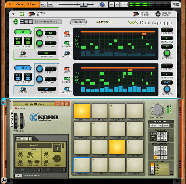 Screen 4: Dual Arp also makes an effective, real-time drum sequencer.