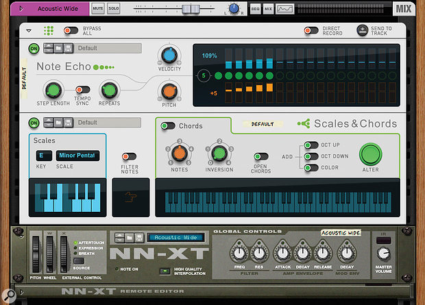 Screen 1. A strum effect from Note Echo being kept in key by the Scales & Chords Player.