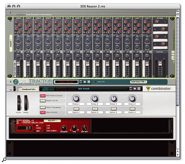 Screen B: The basic starting rack, featuring mixer, synth and Combinator. A DDL1 has been placed inside the Combinator.