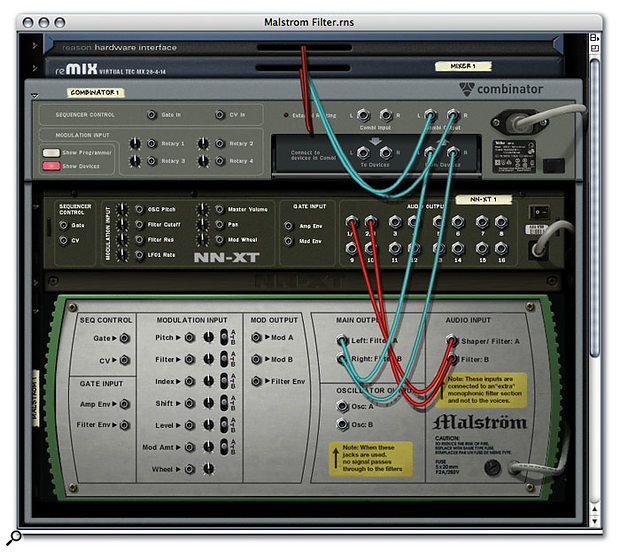 This screenshot shows the back panel of a Combinator patch in which a Malström's external audio inputs are being used to filter and shape an NNXT. The Malström's filter envelope can be triggered by the same MIDI notes that play the NNXT, or from a Gate input (which can be from the Malström itself!). The Combinator front panel can also be used to tie together the A and B filter controls for stereo operation.