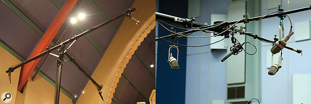 Left: a Decca Tree array, comprising a central mic and a spaced pair. Right: modifications are now often made to the Decca Tree array, but all variations start with the central mic.